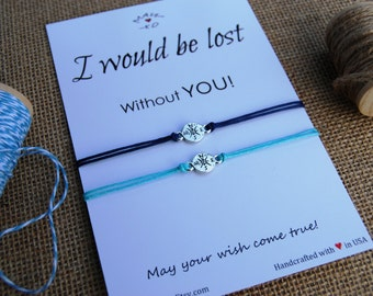 Compass Bracelet BFF Gift Long Distance Relationship Wishing Bracelet Friendship Bracelet Couple Bracelet Wanderlust Bracelet Travel gift