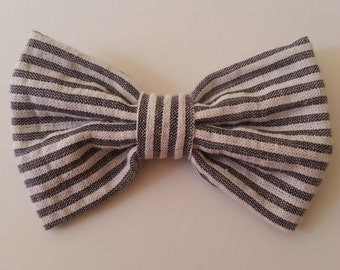 Gray Stripe Bow Tie - Baby // Toddler // Child - Clip On