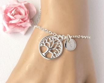 Silver tree bracelet, tree of life bracelet, tree jewelry, tree bracelet, custom bracelet, personalised bracelet