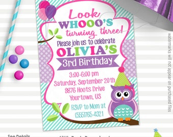 Owl Birthday Invitation | Owl Invitation | Printable Birthday Invitation | Design 16067