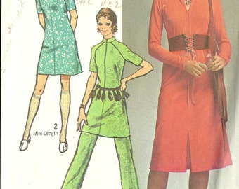 Simplicity vintage sewing pattern 9155 mod dress and pants - Size 12