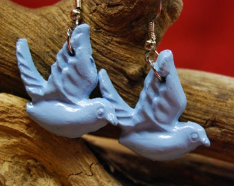 Sparrows/Bluebird Earrings - Handmade Porcelaine Earrings