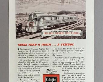1944 Burlington Pioneer Zephyr Print Ad
