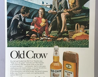 1968 Old Crow Print Ad - Bourbon Whiskey