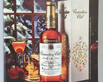 1980, 1981 Lot of 2 Canadian Club Whiskey Print Ads - Christmas Ad