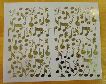 Brilliant Gold Music Notes - Mini Stickers Kate Spade Inspired - DIY Easter Egg Decorations