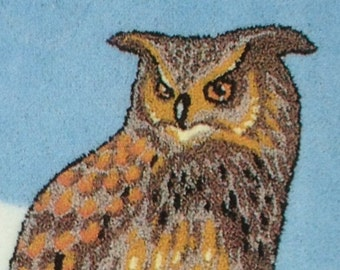 British Made Punch Needle Embroidery Eagle Owl Large A3 kit by Webster