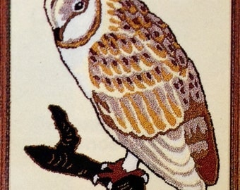 British Made Barn Owl Punch Needle Embroidery Kit By Webster Craft