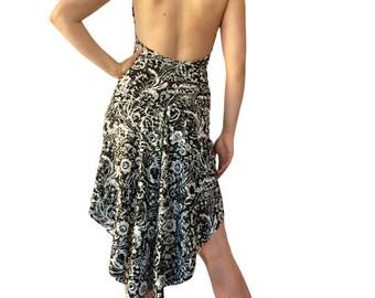 B&W Gold Ruffle - Godet Tango Dress
