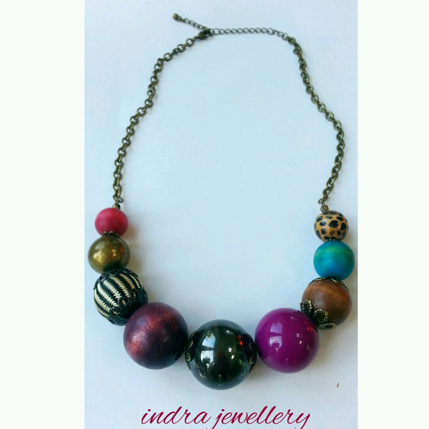 large chunky beaded necklace everyday casual by indrajewellery
