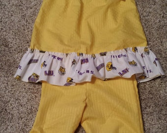 Little Girl's Top and Capri Pant Set w/ White LSU Trim Size 2T