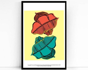Red and Blue Banana Leaf Print - 8x10 inches - originally pen and ink - printed digital art- archival quality art print