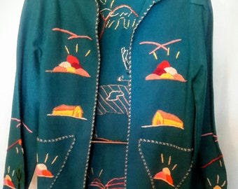 1950's handmade embellished Mexican tourist jacket, in excelleht condition, size small/med