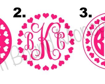 Set of three 3 inch Valentine's Day Monograms
