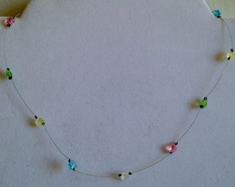 Wire choker necklace with glass flower beads