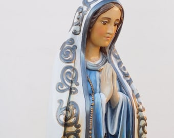 """Our Lady of Fatima / Fatima Statue / Virgin Mary Statue / 33"""" / Hand-Painted / Liturgical Art / Religious Statue / Sculpture / Statuary Art"""