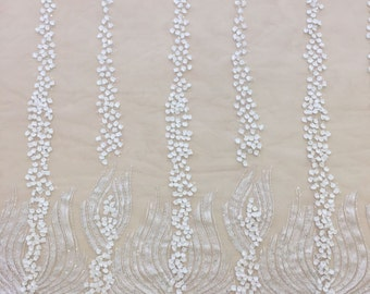 Luxury 3D offWhite  lace fabric, hand made pearl beads 3D flowers, French Lace, white Embroidered lace, Wedding Lace, Bridal lace, B00141