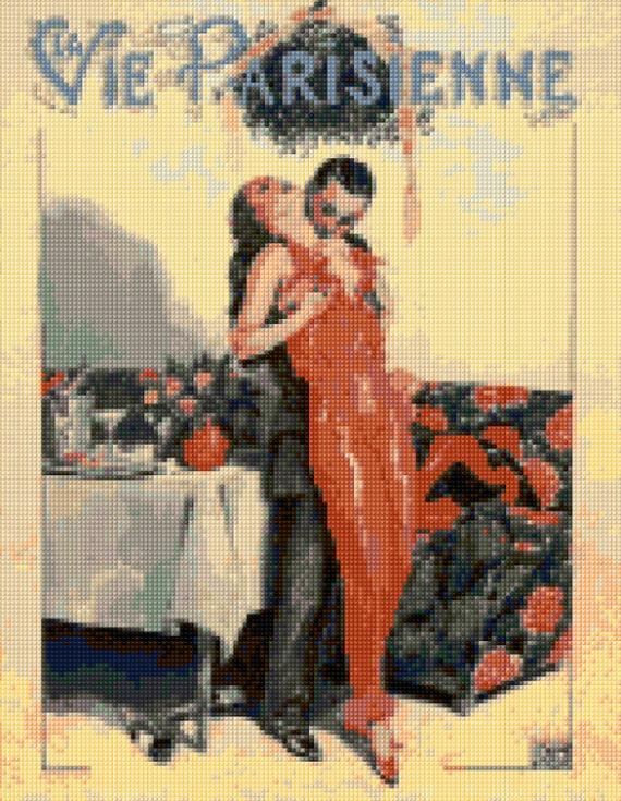 art deco 1920s paris la vie parisienne cross stitch chart pdf. Black Bedroom Furniture Sets. Home Design Ideas