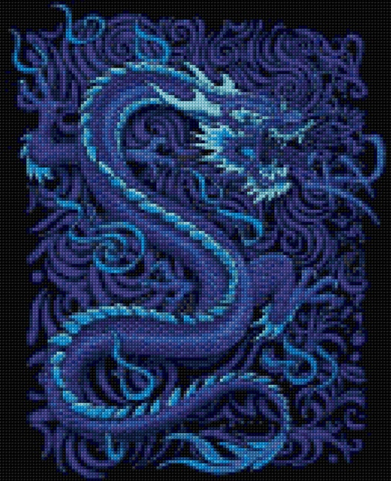Blue Dragon Cross Stitch Pattern Pdf Easy Chart With One
