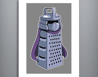 "MASTER CHEESE SHREDDER 8.5"" x 11"" Art Print, Ninja Turtles, Master Shredder, Cheese Grater"