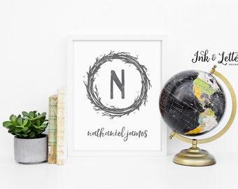 Monogram Print - Personalized Name Print - Custom Nursery Decor - Adventure Nursery Decor - Gray Print - Digital Printable - 8x10