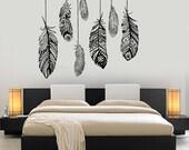 Wall Vinyl Decal Ethnic Love Feather Romantic Decor For Bedroom Mural Art 1484dz