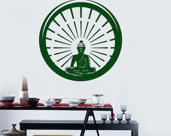 Wall Art Mural Buddha Praying Buddhism Yoga Studio Decal (#1006d)