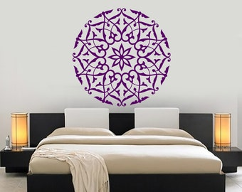 Wall Vinyl Decal Mandala Pattern Symbol of Universe Cosmos Indian Religious Spiritual Modern Home Decor (#1180dz)
