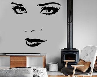 Wall Vinyl Decal Super Sexy Girls Look Lips Beauty Salon Amazing Decor 1343dz