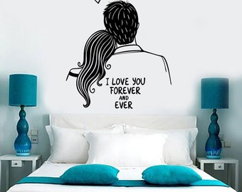 Wall Vinyl Decal I Love You Forever Quotes Romantic Amazing Bedroom Decor 1380dz