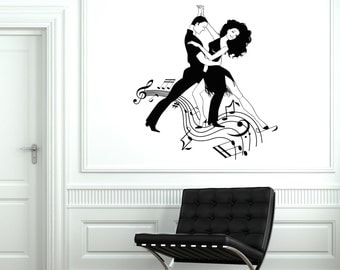 Wall Vinyl Decal Dance Dancing Man And Woman Notes Music Decor 2028di