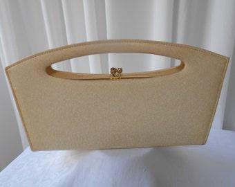 "Vintage Cream ""Classy USA"" Sculptural Evening Purse Handbag 1960's"