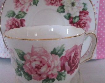 Teacup with Pink Roses by Crown Staffordshire. Made in England.  Perfect for your next Garden Tea Party