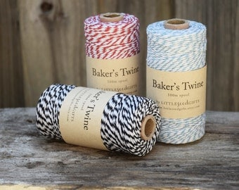 Cotton Twine 13+ Colours - 100m Spool 12ply Bakers Twine