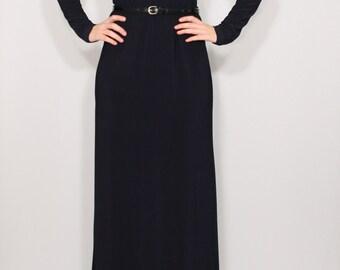 Women maxi dress Navy dress Long sleeve dress Round neck dress Women