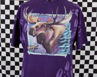 90s Moose Tee Shirt / Vintage Moose Print T Shirt / XL / Soft / Animal Print / Wildlife Print / Hanes Beefy T / Purple