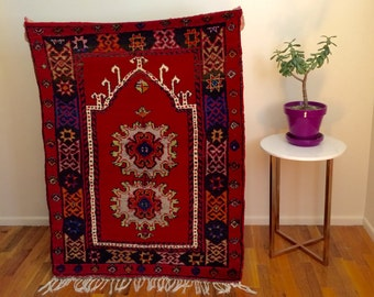 Gorgeous vintage tribal wool rug 3x4ft from Turkey