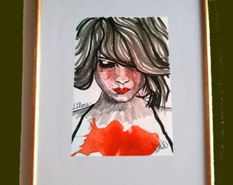 Lilou - Dessin original réalisé à l'encre de chine et aquarelle sur papier grain fin 300g.