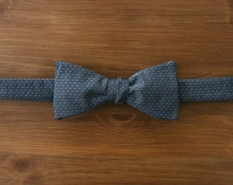 men's bow tie - grey with woven dots butterfly classic
