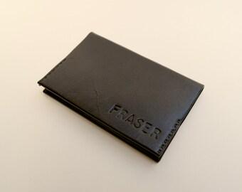 Thin Fold Wallet - Personalised - Black - **Handcrafted from Premium Kangaroo Leather - Slim, Minimalist, Monogrammed and Customised**