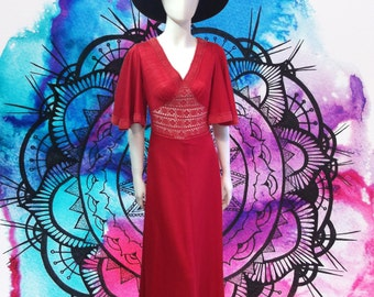 Vintage 70s cherry red maxi dress crochet detail peace vintage