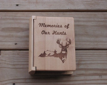 Laser Engraved Wood Photo Album - Hunting Album -  Hunters Gift Idea - Engraved Gift for Hunter