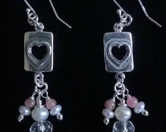 Rhodocrosite, Pearl, Quartz & Sterling Silver Heart Earrings, Handmade by Emergent Jewel