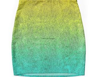 Ocean Sunrise Glitter Gradient Pencil Skirt, 7 Sizes Available!