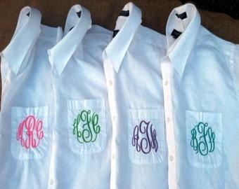 Monogrammed Button Down Bridemaid Shirts