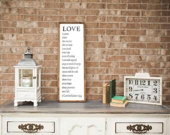 Love is Patient, Love is Kind - 1 Corinthians 13 - Wood Sign - Scripture - Wedding Gift