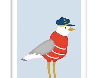 Poster Sailor Seagull | Nautical  Poster | Wall Art Children+ Nursery | nautical  |   Modern Scandinavian Style, Sailing