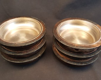Set of 6 Vintage W & S Blackinton Glass and Silver Plate Coasters