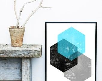 Hexagon Print, Printable Art, Geometric Art Print, Scandinavian Art, Mid Century print, Modern Art, Wall Decor, Wall Art, Digital Download