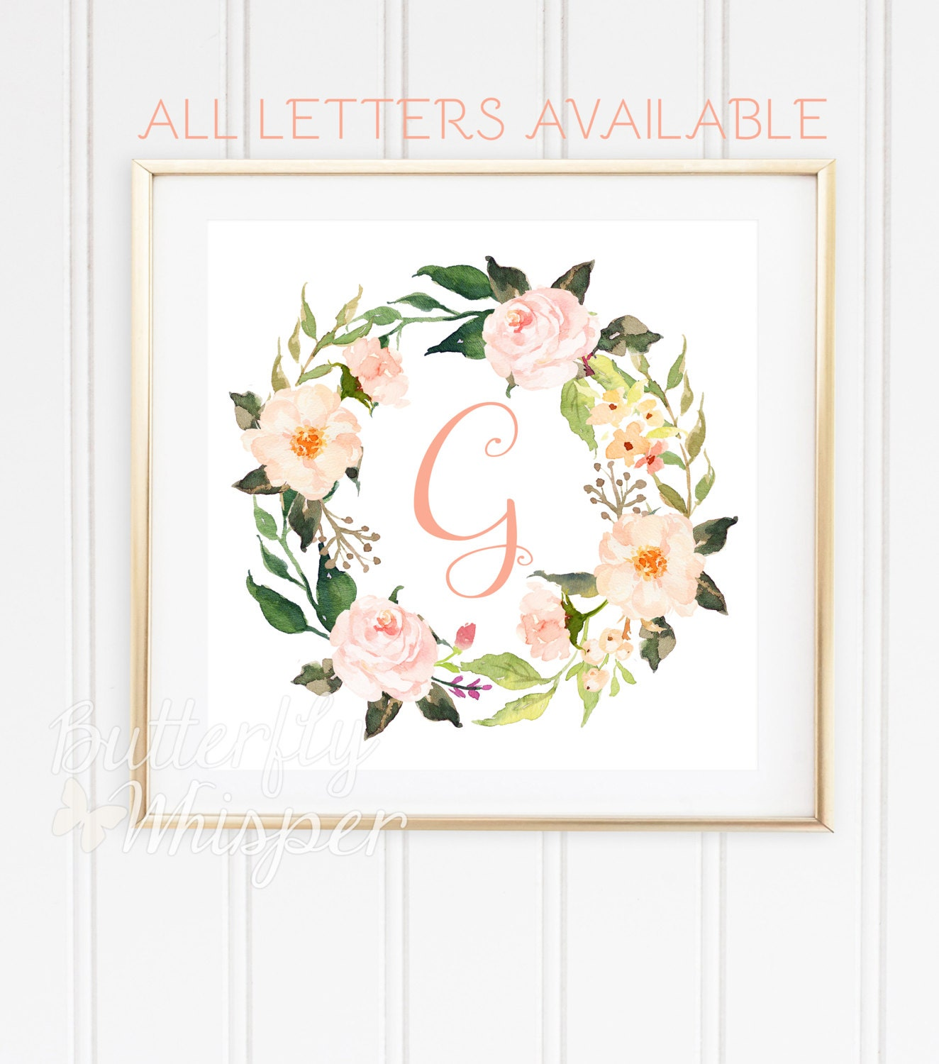 Monogram baby letter for wall printable Nursery initials